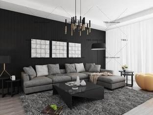 3D模型北欧客厅沙发茶几组合