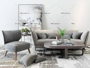 3D模型北欧沙发休闲椅茶几组合