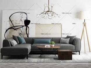3D模型北欧沙发吊灯茶几组合