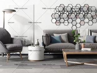 3D模型北欧沙发茶几组合2