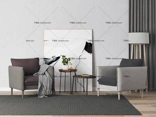 3D模型北欧简约单人沙发茶几边几组合3