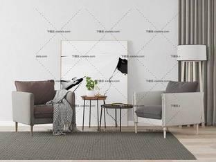 3D模型北欧简约单人沙发茶几边几组合4
