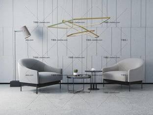 3D模型北欧简约单人沙发茶几边几组合5