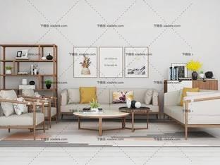 3D模型北欧简约沙发茶几组合