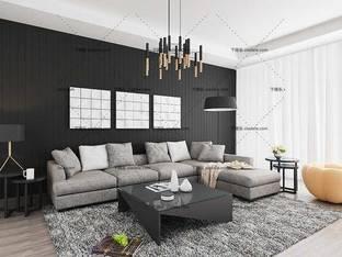 3D模型北欧简约沙发茶几组合13