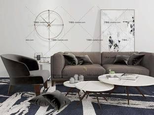 3D模型北欧简约沙发茶几组合16