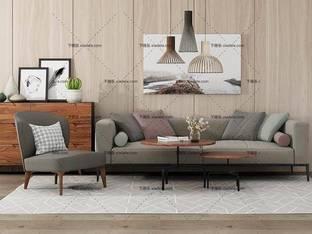 3D模型北欧简约沙发茶几组合17