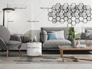 3D模型北欧简约沙发茶几组合20