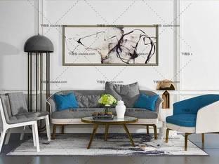 3D模型北欧简约沙发茶几组合22