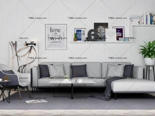 3D模型北欧简约沙发茶几组合25