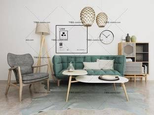 3D模型北欧简约沙发茶几组合26