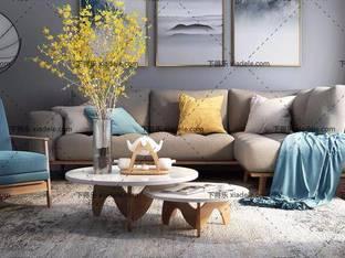 3D模型北欧简约沙发茶几组合30