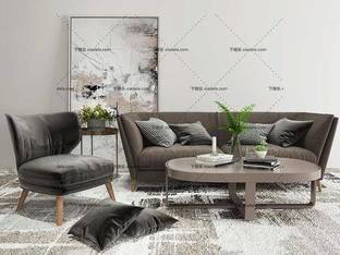 3D模型北欧简约沙发茶几组合31