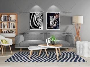 3D模型北欧简约沙发茶几组合32