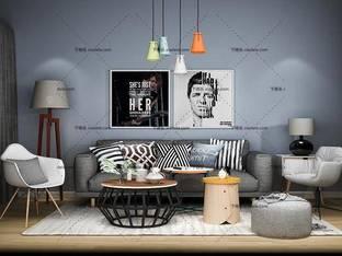 3D模型北欧简约沙发茶几组合34