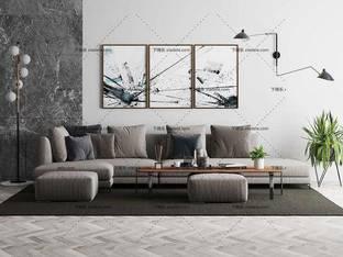 3D模型北欧简约沙发茶几组合35