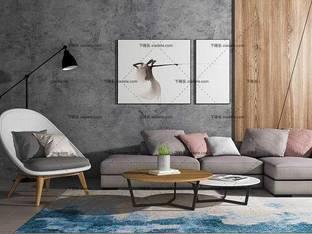 3D模型北欧简约沙发茶几组合4