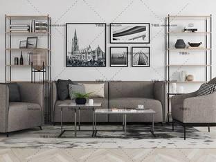 3D模型北欧简约沙发茶几组合41