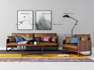 3D模型北欧简约沙发茶几组合50