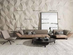 3D模型北欧简约沙发茶几组合8