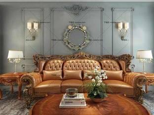 3D模型欧式古典多人沙发茶几组合