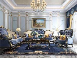 3D模型欧式客厅布艺沙发茶几组合