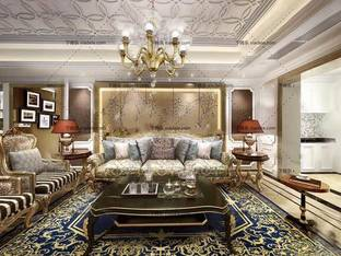 3D模型欧式沙发茶几吊灯组合