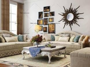 3D模型欧式沙发茶几墙饰品组合