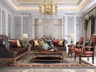 3D模型欧式皮革沙发茶几吊灯组合3