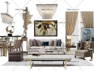 3D模型欧式简约后现代沙发茶几组合