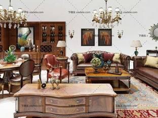 3D模型欧式简约沙发茶几组合桌椅组合