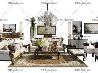 3D模型欧式简约沙发茶几组合桌椅组合2