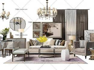 3D模型欧式简约简欧现代沙发茶几组合桌椅组合