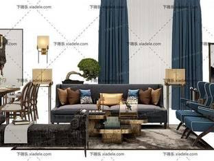 3D模型欧式简约简欧现代沙发茶几组合桌椅组合2