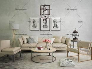 3D模型现代简约沙发茶几组合10