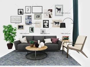 3D模型现代简约沙发茶几组合3