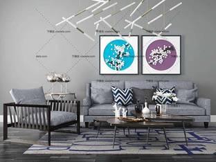 3D模型现代简约沙发茶几组合5