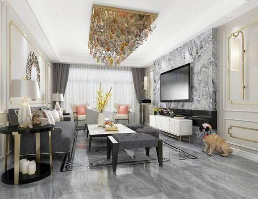 后现代客厅, 客厅餐厅, 客厅, 沙发组合