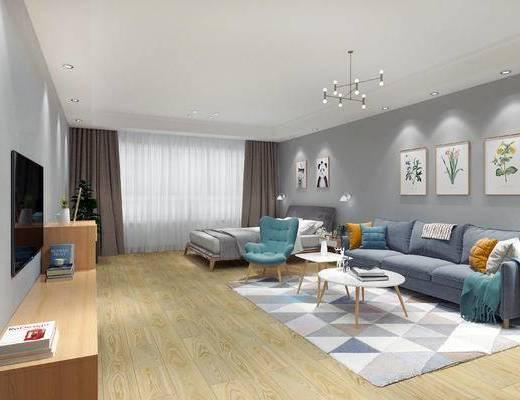 现代客厅, 客厅, 沙发茶几, 电视柜, 吊灯, 装饰画, 床具, 公寓, 现代卧室