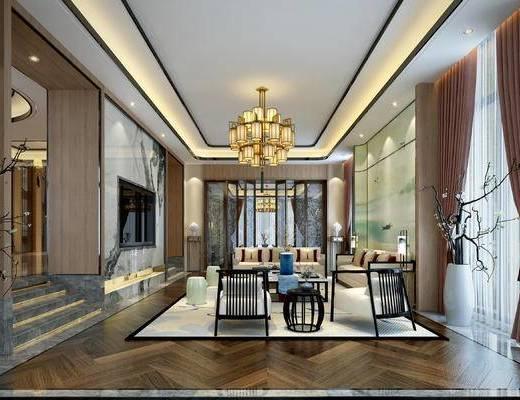 新中式客厅, 客厅, 沙发组合