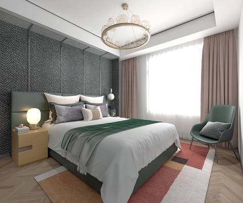 北欧卧室, 卧室, 北欧床具, 双人床, 现代吊灯, 吊灯, 床头柜, 沙发椅