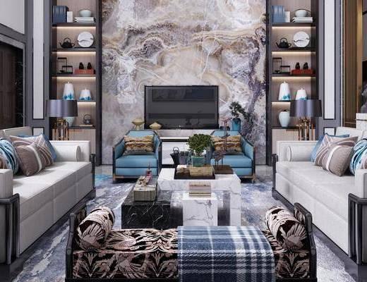 新中式客厅, 别墅, 客厅, 沙发茶几, 摆件, 置物架, 电视柜