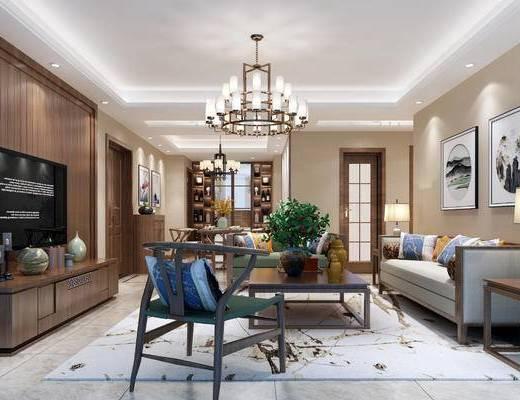 新中式客厅, 新中式餐厅, 客厅, 餐厅, 中式吊灯, 电视柜, 沙发茶几, 边几, 台灯, 挂画, 餐桌, 椅子