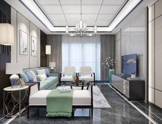 新中式客厅, 客厅, 新中式沙发, 沙发茶几, 电视柜, 花瓶, 挂画, 吊灯, 壁灯, 边几, 摆件