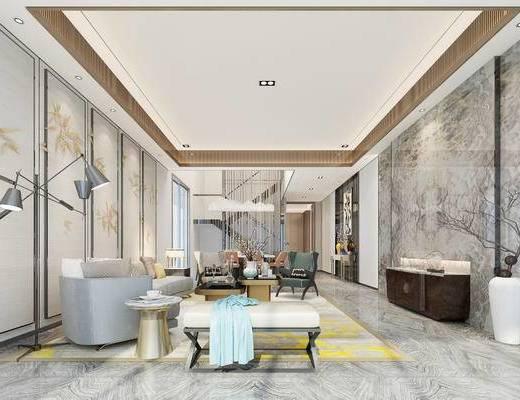 新中式客厅, 新中式餐厅, 客厅, 餐厅, 沙发茶几, 电视柜, 餐桌, 椅子, 落地灯