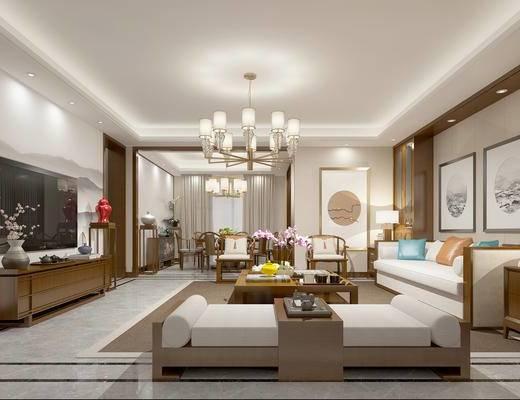 新中式客厅, 客厅, 沙发茶几, 挂画, 吊灯, 电视柜, 摆件, 新中式餐厅, 餐厅, 餐桌, 椅子