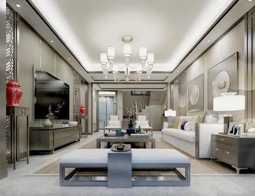 新中式客厅, 客厅, 新中式沙发, 沙发茶几, 电视柜, 吊灯, 边柜, 台灯, 挂画, 摆件