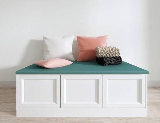 北欧沙发凳, 沙发凳, 抱枕