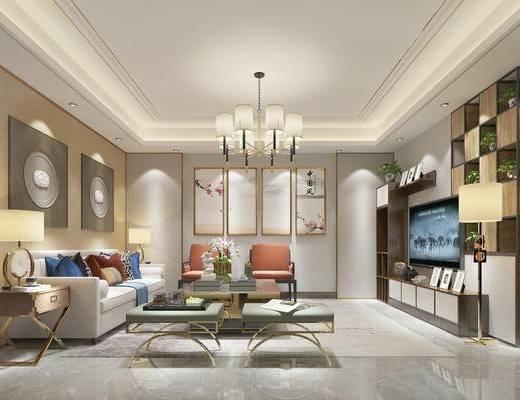 新中式客厅, 客厅, 沙发茶几, 吊灯, 挂画, 边柜, 台灯, 电视柜, 置物架, 摆件