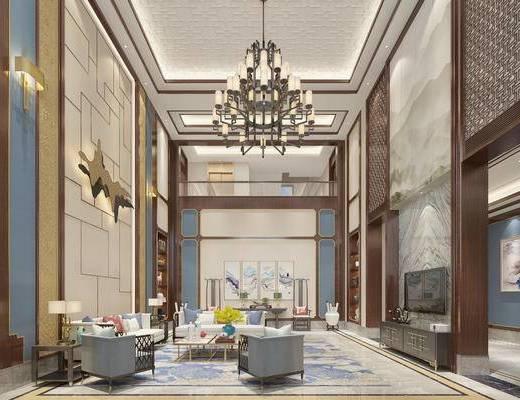 新中式客厅, 客厅, 别墅, 吊灯, 电视柜, 墙饰